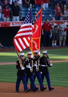 Camp Pendleton's MCTSSA honor guard presented the flags during the July 4th pregame ceremonies