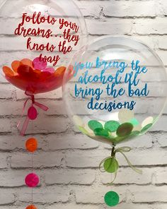 Confetti balloons - pink & orange and green & cream