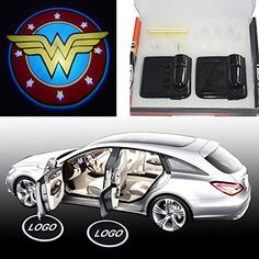 2x Super Wonder women W badge Wireless car door projector LED courtesy welcome logo shadow ghost light Magnet Sensor Powered by battery sunmax