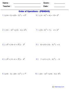 math worksheet : practice the order of operations with these free math worksheets  : Dads Math Worksheets