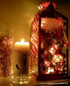 Fill your lantern with other beautiful things, besides just a candle.