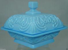 Portieux Vallerysthal France Blue Opaline Milk Glass Covered Jar,Sugar Bowl,Vase