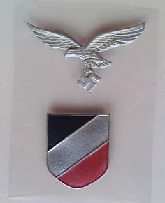 LUFTWAFFE SHIELD BADGE PITH HELMET INSIGNIA GERMAN WW2 PRICE $40