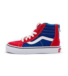 689593aa57b8 Vans SK8 Hi Zip Kids Red Blue