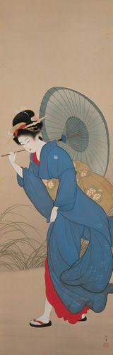 上村松園 Shoen Uemura 『追風』水野美術館蔵