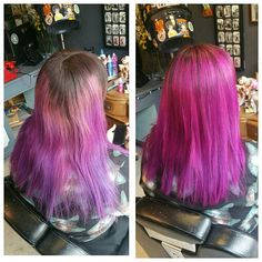 Wanted the dipdye higher! It's still got natural roots but mini ones! #pinkhair #purplehair #rockalilycuts