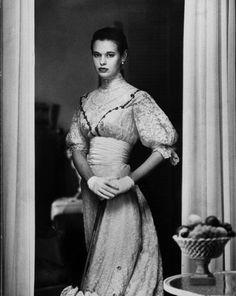 Gordon Parks: Actress Gloria Vanderbilt Stokowski in costume for Molnars play The Swan. 1954