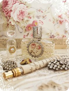 bottles and jewelry <3 Shabby Chic Cottage Pink Roses