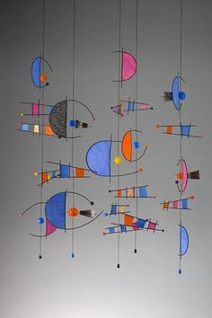 "Carnival Dreams hand painted rice papers, reed, fiber, wood, paper mache, 70"" x 42"" x 32"" 2010 Patty Sgrecci Mobiles & More"
