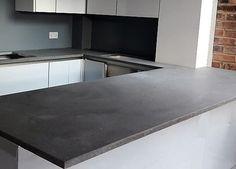 Blue Countertops, Kitchen Countertops, Flooring Tiles, Wall Tiles, Caesarstone Concrete, Grey Laminate, Concrete Kitchen, Kitchen Worktop, Updated Kitchen
