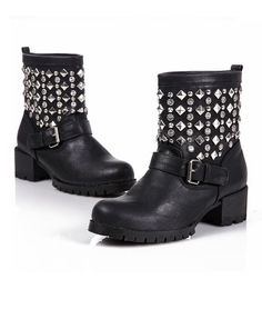 Studded Biker Boots with Pin Buckle Details
