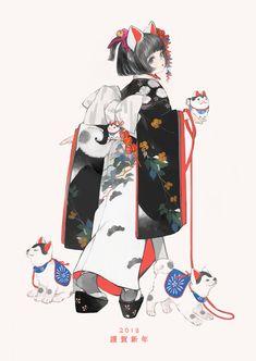 original Part 705 - - Anime Image Art And Illustration, Illustrations, Anime Kimono, Character Drawing, Character Concept, Concept Art, Pretty Art, Cute Art, Manga Art