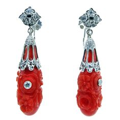 Art Deco Carved Coral Diamond Drop Earrings |  a unique collection of vintage dangle earrings at