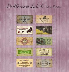 #dollhouse #miniature #digital  Miniature Dollhouse Labels digital download sheet. $8.00, via Etsy.
