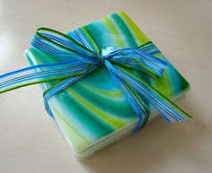 Blue-Green Lagoon Fused Glass Coasters by dortdesigns on Etsy https://www.etsy.com/listing/55896455/blue-green-lagoon-fused-glass-coasters