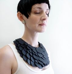 Black Scales Bib Necklace Choker Collar