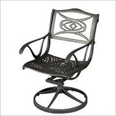 Home Styles Malibu Dining Swivel Chair in Black Finish