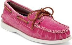 Red Sperry top Sider womens canvas Boat Shoes