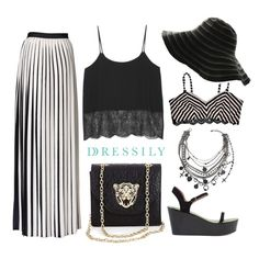 This look shows how midi or maxi skirts work well with slinky crepe tops and flatfomr sandals. Top it off with a big flappy hat and simple accessories and you're all set for a day out with your girlfriends followed by a date night with your partner. This versatile outfit takes you from day to night! www.dressi.ly
