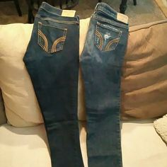 2 pair Hollister skinny jeans Size 5L and 5S Brand new never worn 2 pair of Hollister skinny jeans.  Pair on left is size 5L and pair on right is size 5S.  Willing to seperate at $20/pair. Hollister Jeans Skinny
