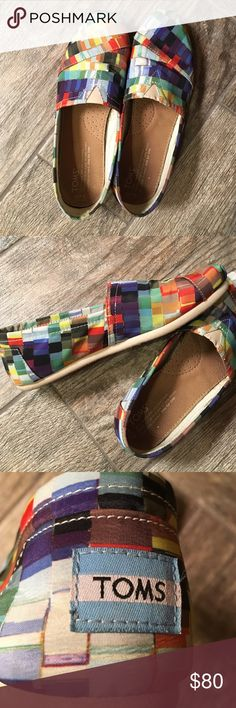 Rare Rainbow Toms Shoes size 7.5 Rare rainbow print Toms size 7.5 shoe. Hardly worn and super clean and comfortable. TOMS Shoes Flats & Loafers