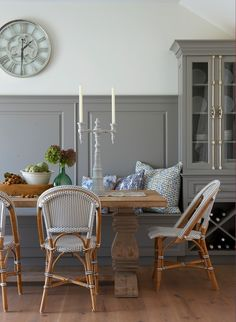I way to integrate a farm house table into a nice and pretty banquette Nantucket Dining Room Banquette - Threshold interiors