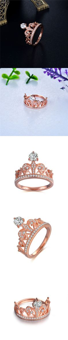 Lajerrio Jewelry Rose Gold Crown Round Cut White Sapphire S925 Promise Rings for Her