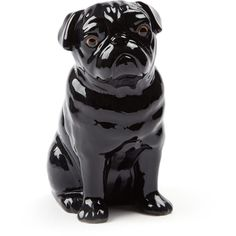 Quail Large Black Pug Vase ($59) ❤ liked on Polyvore featuring home, home decor, vases, onyx vase, pug home decor, black home decor and black vase