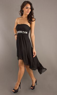 wedding maid of honor dresses black | Strapless Black High Low Dress , maid of honor dresses with sleeves