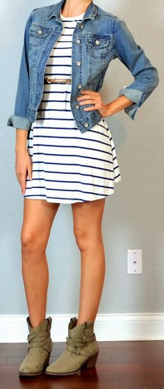 guest outfit post - sister week: striped dress, jean jacket, ankle boots