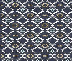 Navajo - Dark Blue Mint Gold fabric by kimsa on Spoonflower - custom fabric