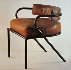 rené herbst, brown leather and iron chair