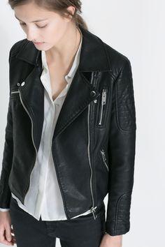 Veste en cuir noir zara femme