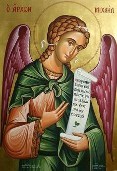 Archangel Michael by Stelios Stelios of Cyprus Byzantine Icons, Byzantine Art, Hieronymus Bosch, John Singer Sargent, William Blake, Angel Statues, Archangel Michael, Religious Icons, Angel Art