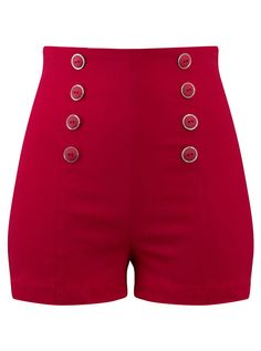 Check out these women's high waisted red pin up shorts from Inked Shop! These rockabilly style shorts feature sailor button details, a zip closure & more. Pin Up Outfits, Cute Outfits, Pin Up Kleidung, Harajuku, Sailor Shorts, Modern Tops, Retro Shorts, Pencil Skirt Black, Jennie Blackpink