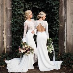 What a gorgeous photo captured by @kannephoto of the beautiful Adele & Endora gowns ✨ we are so excited to be hosting our first @rimearodaky trunk show this weekend! #rimearodaky #brides #chicago #chicagobride #love #frenchdesigner #aliceinivory