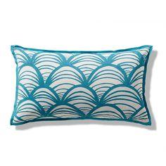 Handpainted Scallop Outdoor Lumbar Pillow