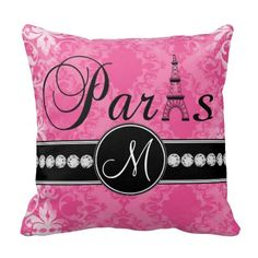 Love this hot pink damask pillow with Paris and personalized monogram initial with black trim - so cute in a little girl's nursery