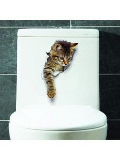 3D Cat Wall Sticker For Bathroom Bedroom Decor