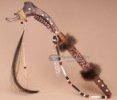 This is a beautiful Native American buffalo jaw bone tomahawk war club ...