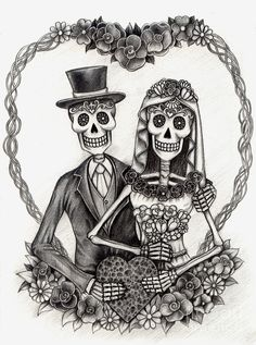 Gallery For gt Black And White Day Of The Dead Couple Art