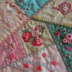 Favorite place.. at my sewing machine.. this is a favorite type quilt.. now that I have an embroidery machine, I at least want to try this crazy quilt.. and embroider the edges of the pieces.