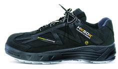 """HKSDK model R7 blev introduceret i maj 2012. En gennemtænkt all-round sikkerhedssko med vores velkendte AIR-system. Pasformen I denne sikkerhedssko er uden sammenligning, og det føles overhovedet ikke som at have en sikkerhedssko på fødderne. R7 er en af HKSDK's letteste sikkerhedssko, og den efterlader dig med en følelse af ekstrem komfort.  VI har lagt vægt på at designe skoen, så den ikke ser ud som en sikkerhedssko men derimod en almindelig """"street-sko""""."""