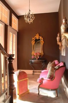 New Orleans foyer designed by Ned Marshall. Paint color by Benjamin Moore Bittersweet Chocolate.Via ZsaZsa Bellagio.