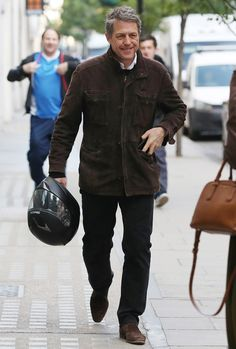 Hugh Grant in London Suede Jacket, Leather Jacket, Men's Street Style Photography, Hugh Grant, Donald Glover, Best Dressed Man, George Clooney, David Beckham, Men Dress