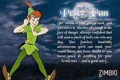 What Peter Pan character are you I got Peter Pan himself comment on what you get!