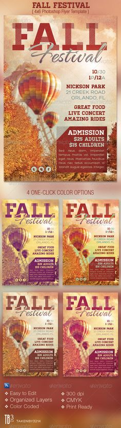 Fall Festival Event Flyer Template - $6.00