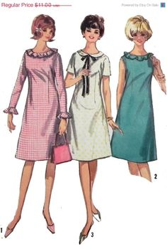 On Sale 1960s Dress sewing pattern with by retroactivefuture