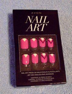 AVON Nail Art Set ~  24 Press-On Nails ~  PINK Go Graphic ~  NEW  SEALED PKG #AVON #manicure #manipedi #nailart #beauty #eBay