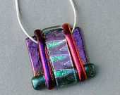 Colorful Dichroic Fused Glass Pendant With Chain